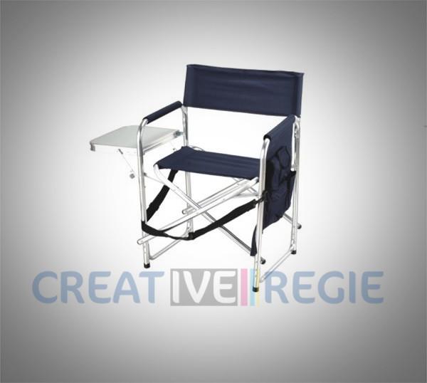 Chaise metteur en scène en aluminium avec tablette